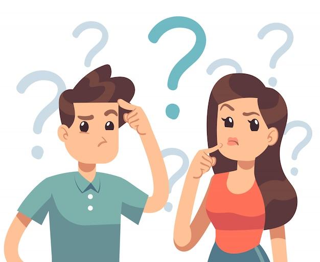 Giovane coppia in difficoltà. donna confusa e uomo che pensano insieme. persone con punti interrogativi illustrazione vettoriale