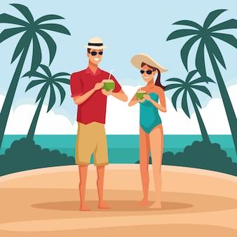 Giovane coppia in spiaggia