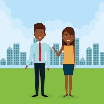 Giovane coppia nei personaggi avatar paesaggio