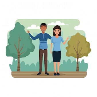 Giovane coppia nello scenario del parco