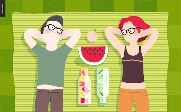 Giovane coppia picnic