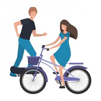 Giovane coppia praticando sport avatar personaggio