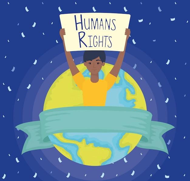 Giovane donna afro con etichetta dei diritti umani e progettazione dell'illustrazione di vettore del pianeta della terra
