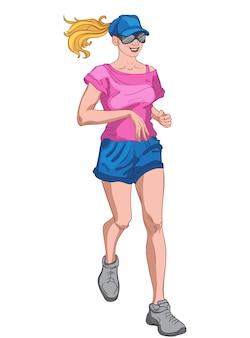 Giovane donna bionda allegra vestita di berretto blu e pantaloncini, maglietta rosa, occhiali da sole e scarpe grigie da jogging