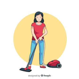 Giovane donna castana che fa i lavori domestici