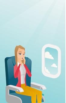 Giovane donna caucasica soffre di aerofobia.