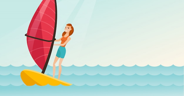 Giovane donna caucasica windsurf nel mare