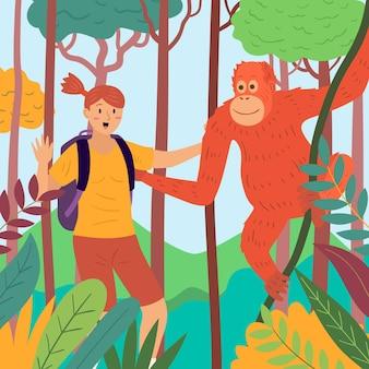 Giovane donna che accarezza una scimmia