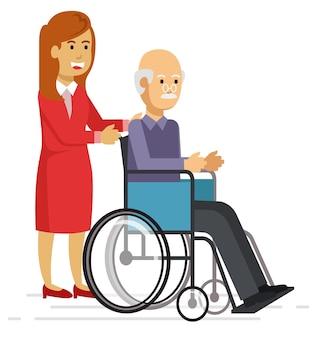 Giovane donna che aiuta un uomo anziano con un camminatore
