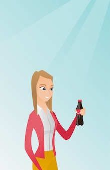 Giovane donna che beve soda