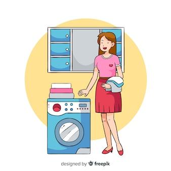 Giovane donna che fa i lavori domestici
