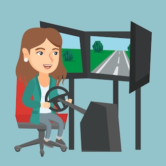 Giovane donna che gioca video gioco con la ruota di gioco.