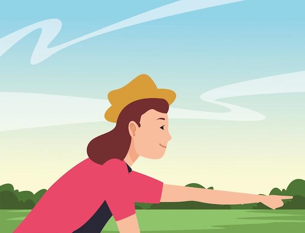 Giovane donna che guida il fumetto della bici