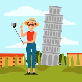 Giovane donna che prende selfie davanti alla torre pendente di pisa. vacanze in italia. paesaggio naturale piatto colorato