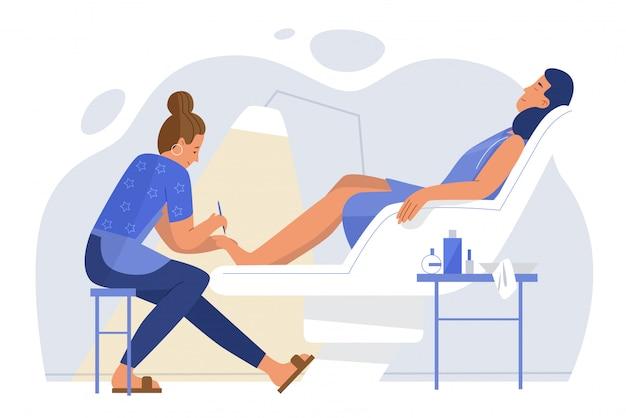 Giovane donna che si rilassa nel concetto piano dell'illustrazione del carattere della stanza di pedicure della poltrona