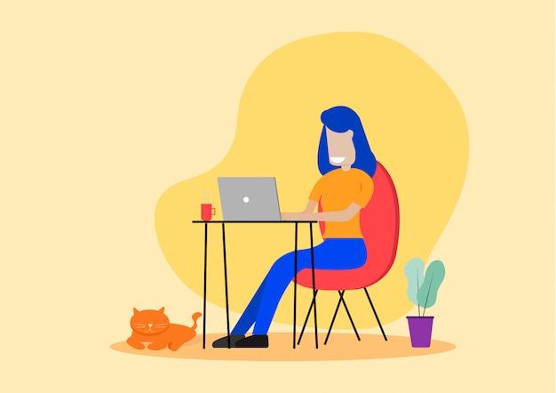 Giovane donna che si siede su una sedia facendo uso del computer portatile che lavora a casa