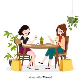 Giovane donna che trascorre del tempo insieme