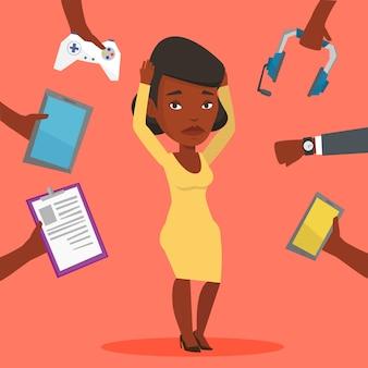 Giovane donna circondata con i suoi gadget.