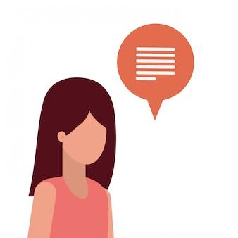 Giovane donna con carattere avatar bolla di discorso