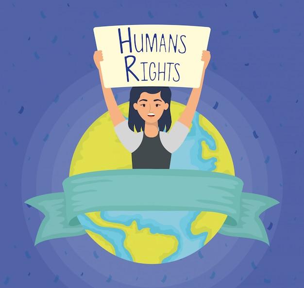Giovane donna con etichetta dei diritti umani e progettazione dell'illustrazione di vettore del pianeta della terra