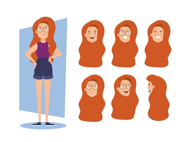 Giovane donna con i capelli rossi e le teste
