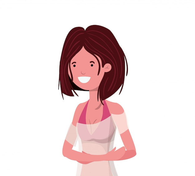 Giovane donna con il costume da bagno su bianco