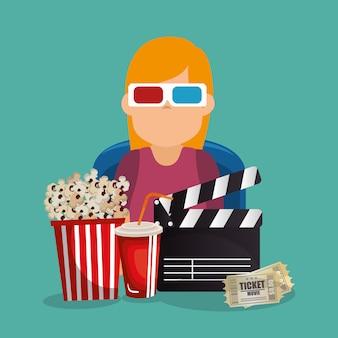 Giovane donna con occhiali 3d e icone del cinema