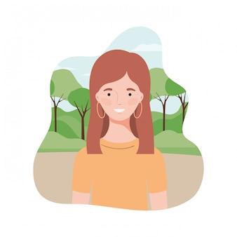 Giovane donna con paesaggio