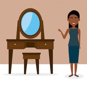 Giovane donna con scena personaggio personaggio specchiera