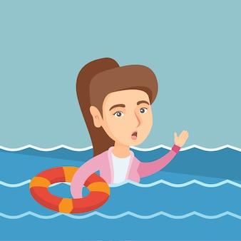 Giovane donna d'affari affondando e chiedendo aiuto.