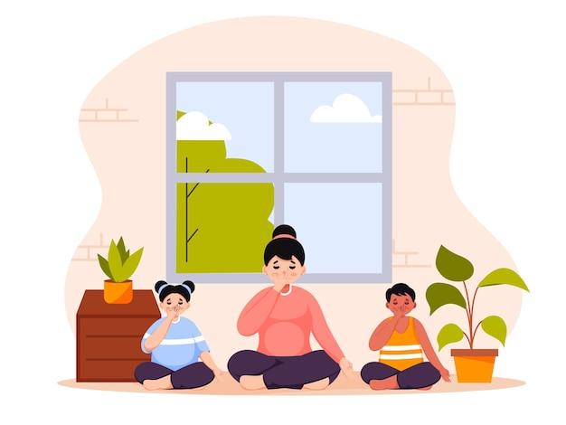 Giovane donna e bambini che fanno yoga respirazione a narice alternata a casa.