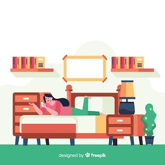 Giovane donna facendo attività a casa. design del personaggio