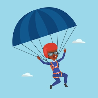 Giovane donna felice volando con il paracadute.