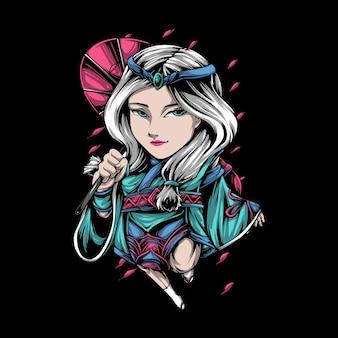 Giovane donna giapponese del personaggio dei cartoni animati che trasporta un ombrello
