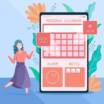 Giovane donna illustrata che prende un appuntamento con un'app dello smartphone