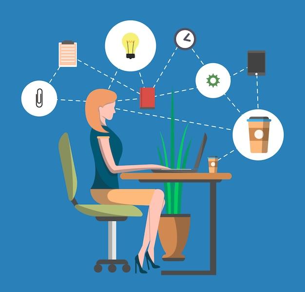 Giovane donna nel infographics del posto di lavoro dell'ufficio