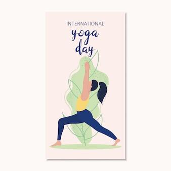Giovane donna nella posa di yoga con le foglie verdi.