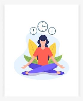 Giovane donna nella posizione del loto medita