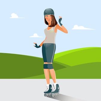 Giovane donna sul pattinaggio a rotelle. persone attive. illustrazione vettoriale
