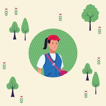 Giovane donna turistica con carattere di borsa da viaggio