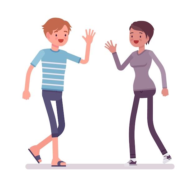 Giovane e donna incontro con le mani aperte