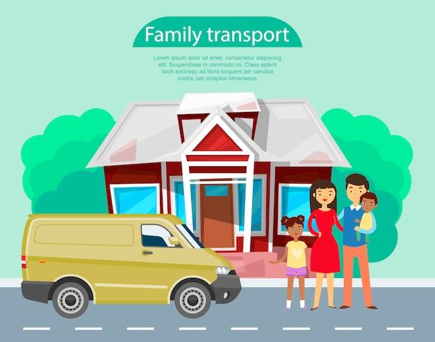 Giovane famiglia con bambini africani in piedi vicino al modello di trasporto auto monovolume