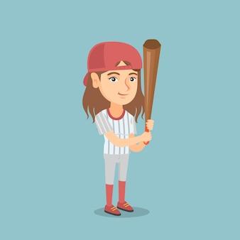 Giovane giocatore di baseball caucasico con una mazza.