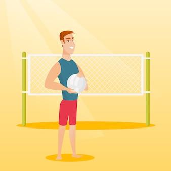 Giovane giocatore di beach volley caucasico.