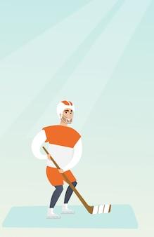 Giovane giocatore di hockey su ghiaccio caucasico.