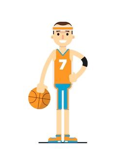 Giovane giocatore di pallacanestro sorridente nella progettazione piana