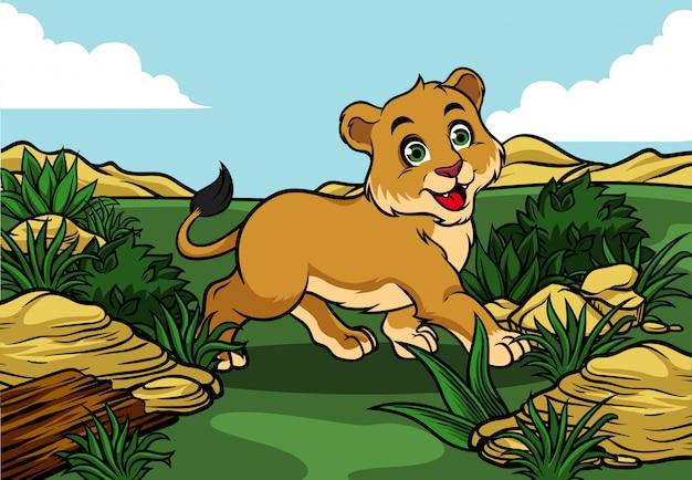Giovane leone che cammina nella giungla