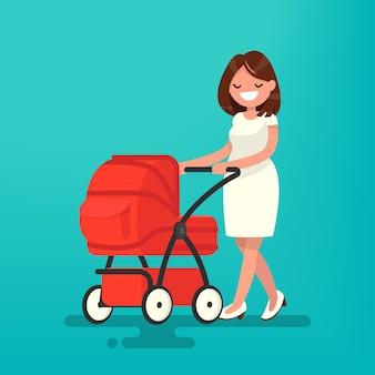 Giovane madre che cammina con un neonato che è nell'illustrazione della carrozzina
