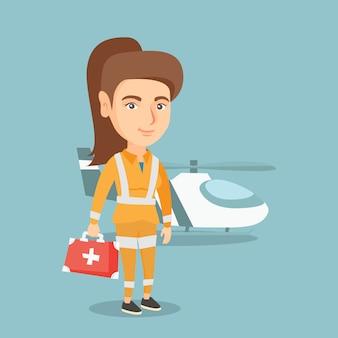 Giovane medico caucasico dell'ambulanza aerea.