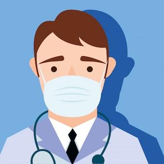 Giovane medico maschio che indossa il carattere di maschera medica